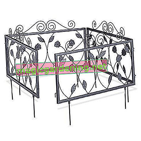 Relaxdays Beetzaun metal set of 4 GOTH, nostalgic, beet border to stick, 4 fence elements 33.5 x 56.5 cm, black