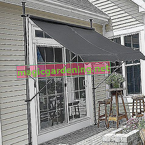 Pro-Tec clamp awning - gray - 150 x 120 x 200-300cm - awning balcony awning sun protection - without drilling