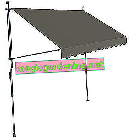 SONGMICS clamp awning, 150 x 130 cm, roll-up balcony awning, sun protection, awning with frame, adjustable height 2-3 m, gray GSA153G