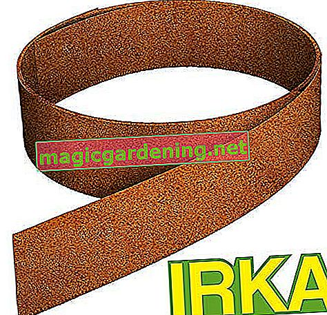 IRKA lawn edging tape made of Corten steel, 15 cm high. Lawn edging with stiffening edge, 20 meters of bed border